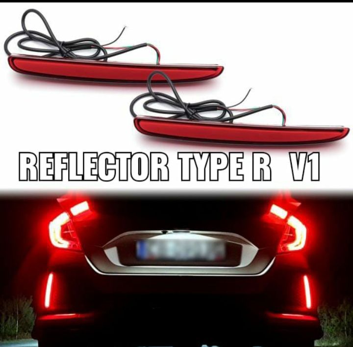 Rear Bumper Reflector Civic 2016 Led Type R V1