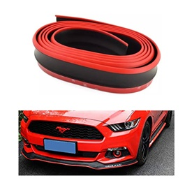 Rubber Lip Protector Black With Red Skirt | Rubber Bumper Lip Splitter Skirt Protector Strap | Car S