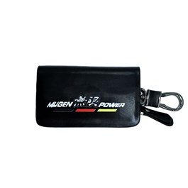 Mugen Power Glossy Zipper Leather Key Cover Black