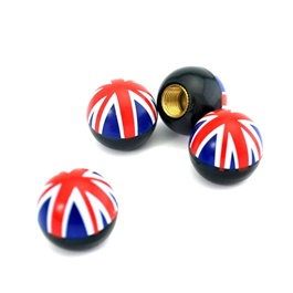 UK Flag Tire / Tyre Air Valve Nozzle Caps   4 Pieces