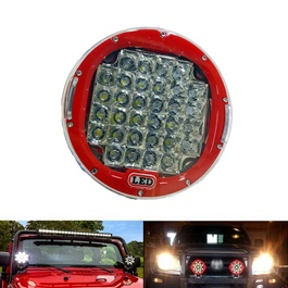 Jeep Red Fog Lamps / Fog Lights Large   Pair | Round Spotlight Pod Off Road Fog Driving Roof Bar Bum