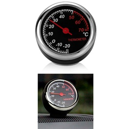 Car Automobile Thermometer Clock Car | Car Interior Decoration Ornament Car Styling | Round Shape Ca