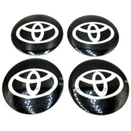 Toyota Wheel Cap Logo Black   4 Pieces | Wheel Center Cap | Wheel Logo | Wheel Center Hub Caps | Whe