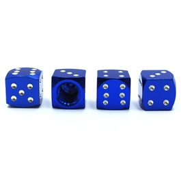 Dice Tire / Tyre Air Valve Nozzle Caps Blue Color  | High Quality Aluminum Tyre Valve Caps | Wheel T